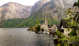 Scenic view of famous Hallstatt mountain village in the Austrian. Alps Royalty Free Stock Image