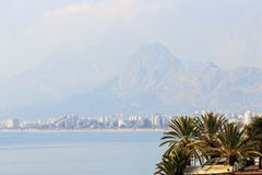 Scenic view of famous Konyaalti Beach in the morning. Antalya, Turkey