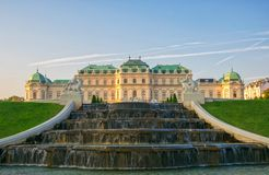 Scenic view of famous Schloss Belvedere summer residence for Prince Eugene of Savoy, Vienna, Austria stock image