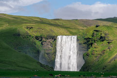 Scenic view of famous Skogafoss waterfall Stock Images