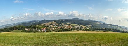Scenic view with fields to village of Leitersweiler in Sankt Wen royalty free stock images