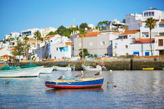 Scenic view of fishing boats in Ferragudo, Portugal Royalty Free Stock Photos