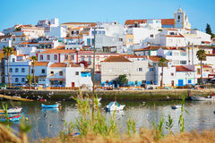 Scenic view of fishing boats in Ferragudo, Portugal Stock Images