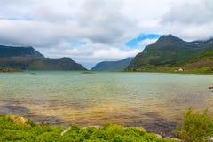 Scenic view of fjord,  mountains, Norway, Lofoten Royalty Free Stock Image
