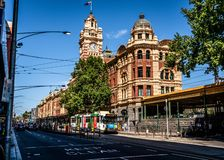 Scenic view of Flinders street railway station building and tower clock from the west in Melbourne Victoria Australia. 2nd January 2019, Melbourne Australia royalty free stock photography