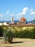 Scenic view of Florence cathedral. A scenic view over an overgrown wall at the Santa Maria del Fiore Cathedral in Florence Stock Photos