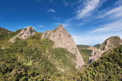 Scenic view of forest and mountains lanscape in La gomera, Canary islands, Spain. Royalty Free Stock Photo