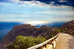 Scenic view of fortress over mediterranean sea stock photography