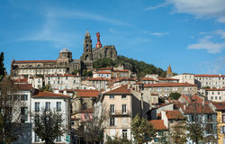 Scenic view of French town Le Puy-en-Velay Royalty Free Stock Images