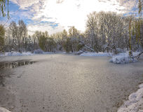 Scenic view of the frozen pond with willow tree and first snow Stock Photo