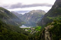 Scenic view of Geiranger Fjord Royalty Free Stock Photo