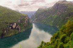 Scenic view on Geiranger Fjord Royalty Free Stock Photo