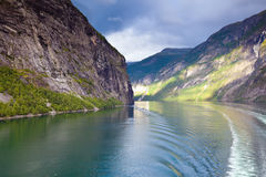 Scenic view of fjord, Geirangerfjord (Norway) Stock Photo