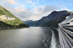 Evening view of Geirangerfjord from deck of cruise ship, Norway - Scandinavia Royalty Free Stock Photography