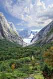 View of canyon and Briksdal glacier, Olden - Norway - Scandinavia Royalty Free Stock Photo