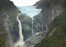 Scenic view on glacier ventisquero calgante with waterfall, chilean patagonia Stock Images