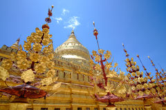 Scenic view of golden Shwezigon pagoda, Bagan, Myanmar Stock Images