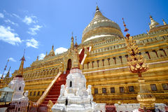 Scenic view of golden Shwezigon pagoda, Bagan, Myanmar Stock Photos