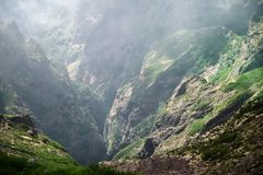 Scenic view of the gorge from Pico do Arieiro on Madeira. Scenic view of the gorge from Pico do Arieiro on Portuguese island of Madeira royalty free stock image