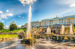 Scenic view of the Grand Cascade,  Peterhof Palace, Russia Royalty Free Stock Photo