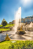 Scenic view of the Grand Cascade,  Peterhof Palace, Russia Stock Photography