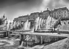 Scenic view of the Grand Cascade,  Peterhof Palace, Russia Stock Images