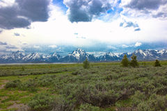 Scenic view of the grand tetons. View from a stop along the grand tetons in wyoming Royalty Free Stock Image