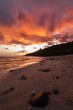 Scenic view on Grande Anse beach at sunset in reunion island Stock Images