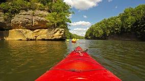 Kayaking on Grayson Lake stock footage