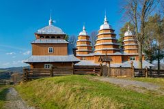 Scenic view of Greek Catholic wooden church of St. Dmytro, UNESCO, Matkiv, Ukraine. Scenic view of Greek Catholic church of St. Dmytro, Matkiv, Ukraine. Church stock image