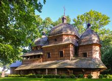 Scenic view of Greek Catholic wooden Mother of God church, UNESCO, Chotyniec, Poland. Scenic view of Greek Catholic wooden Mother of God church, Chotyniec stock photos