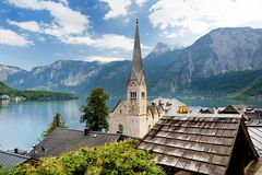 Scenic view of Hallstatt lakeside town in the Austrian Alps on beautiful day in autumn. Hallstatt, situated on Hallstatter See, a. Scenic view of Hallstatt lakee Royalty Free Stock Images