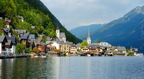 Scenic view of Hallstatt lakeside town in the Austrian Alps on beautiful day in autumn. Hallstatt, situated on Hallstatter See, a. Scenic view of Hallstatt Royalty Free Stock Images