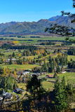 Scenic view of Hanmer Springs town and surrounding hills in Canterbury Stock Photography