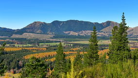 Scenic view of Hanmer Springs town and surrounding hills in Canterbury Royalty Free Stock Images