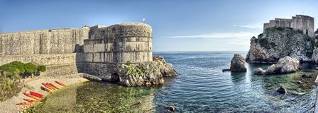 Scenic view on harbor fortification - Dubrovnik, Croatia Stock Image