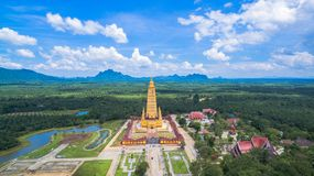 scenic view the highest golden pagoda in Thailand Royalty Free Stock Images