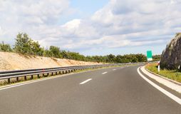 Scenic view on highway road leading through in Istria, Croatia, Europe / Beautiful natural environment. Stock Photos