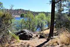 Lynx Lake, Bradshaw Ranger District, Prescott National Forest, State of Arizona, United States. Scenic view from hiking path around Lynx Lake, Bradshaw Ranger Royalty Free Stock Photos