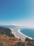 Scenic View from Hill Overlooking Beach Royalty Free Stock Photos