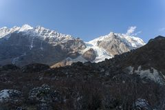 Scenic view of Himalaya mountain in Nepal. Nature reserve Langtang valley trekking travel Royalty Free Stock Photo