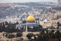 Dome of the Rock Jerusalem. Scenic view of the historic, Islamic Shrine of Dome of the Rock Jerusalem cityscape on the Temple Mount Royalty Free Stock Images