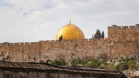Dome of the Rock Jerusalem. Scenic view of the historic, Islamic Shrine of Dome of the Rock Jerusalem cityscape on the Temple Mount stock images