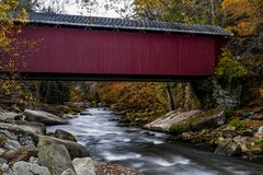 McConnell`s Mill Covered Bridge in Autumn - McConnell`s Mill State Park, Pennsylvania Royalty Free Stock Photography