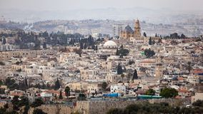 Jerusalem Skyline Cityscape. Scenic view of the historic skyline cityscape of Jerusalem, Israel Stock Images