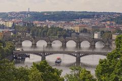 View of historical center of Prague, buildings and landmarks of old town and bridges on the Vltava river Prague,Czech Rapublic Stock Images