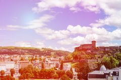 Scenic view of historical monument Chateau Fort in Lourdes, Pyrenees, France. Toned photo royalty free stock photography
