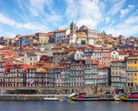 Scenic view on the historical part of Porto and the Douro river in  sunny spring morning, Portugal Royalty Free Stock Photography