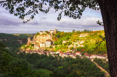 Scenic view of historical Rocamadour town at sunrise, France Stock Images