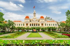 Scenic view of the Ho Chi Minh City Hall, Vietnam. Scenic view of the Ho Chi Minh City Hall in Vietnam. Ho Chi Minh City is a popular tourist destination of Asia stock images